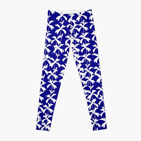 White Campion Silhouette on blue background Leggings