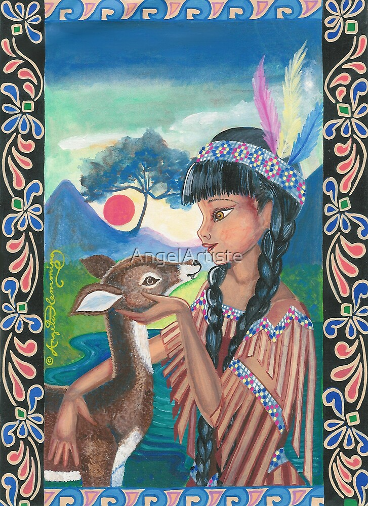 The Native American Girl And The Fawn by AngelArtiste