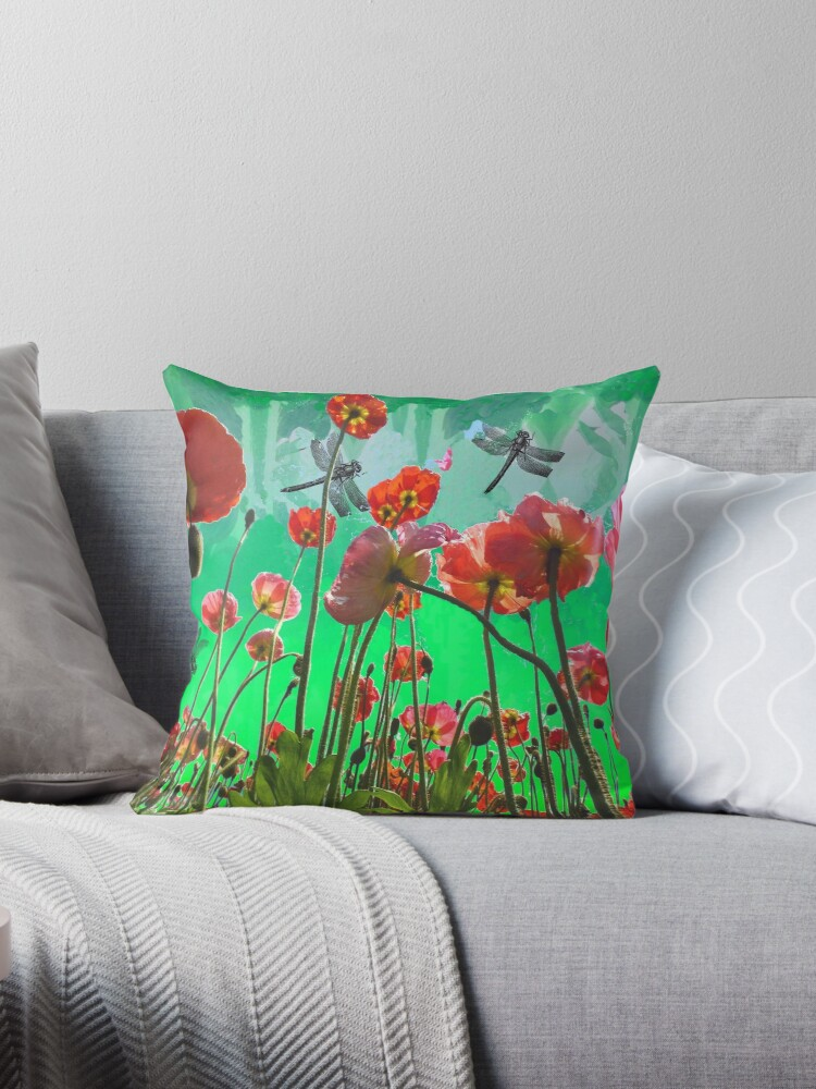 Dragonflies and poppies. by MarilynBaldey7
