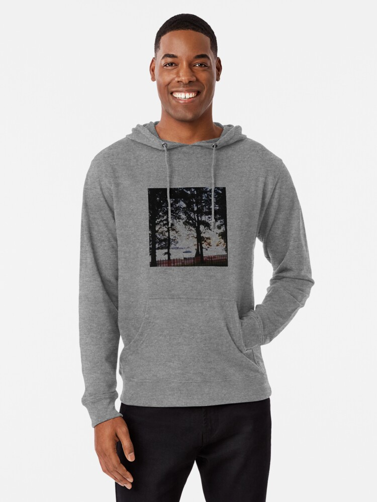 Alternate view of Trees, branches, leaves, branches, river, boat Lightweight Hoodie