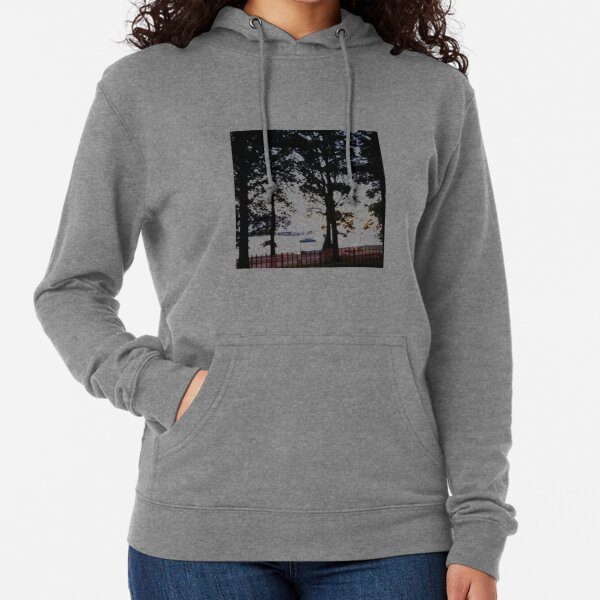 Trees, branches, leaves, branches, river, boat Lightweight Hoodie