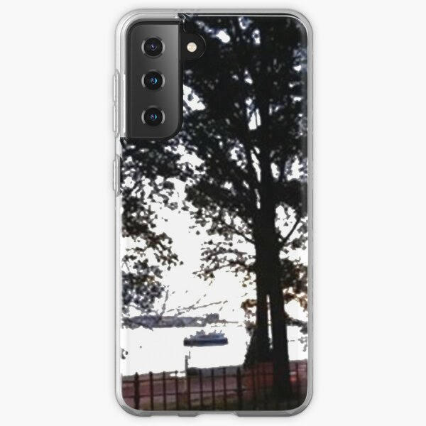 Trees, branches, leaves, branches, river, boat Samsung Galaxy Soft Case