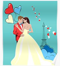 Romantic Design with Lovers in Paris Poster