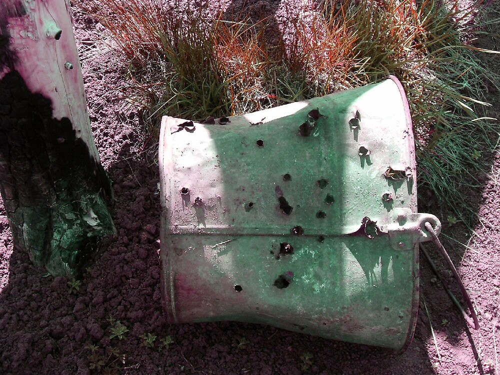 a two-tone bullet hole bucket by boondockMabel