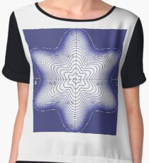 Blue, star-shaped, six-beam spiral Chiffon Top