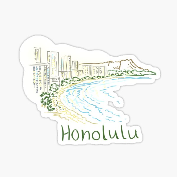 Honolulu Panorama at night Sticker