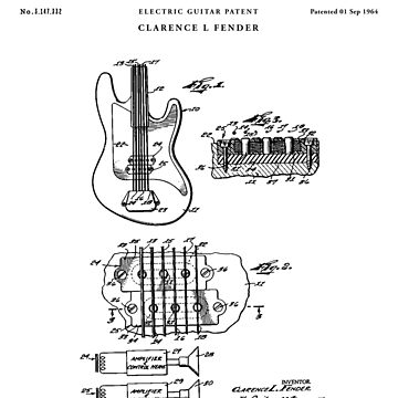 Electic Guitar Patent Drawing Blueprint by Vintago