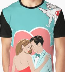 Romantic Design with Lovers and Cupid Graphic T-Shirt