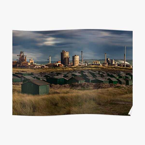 Fishermans Huts and Steel works  Poster