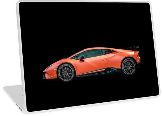 Lamborghini Huracan Performante Black Background Laptop Skins By