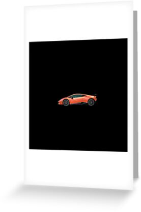 Lamborghini Huracan Performante Black Background Greeting Cards By