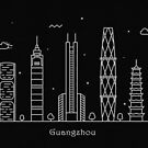 Guangzhou Skyline Minimal Line Art Poster by A Deniz Akerman