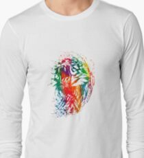 Colorful tiger neon watercolor Long Sleeve T-Shirt