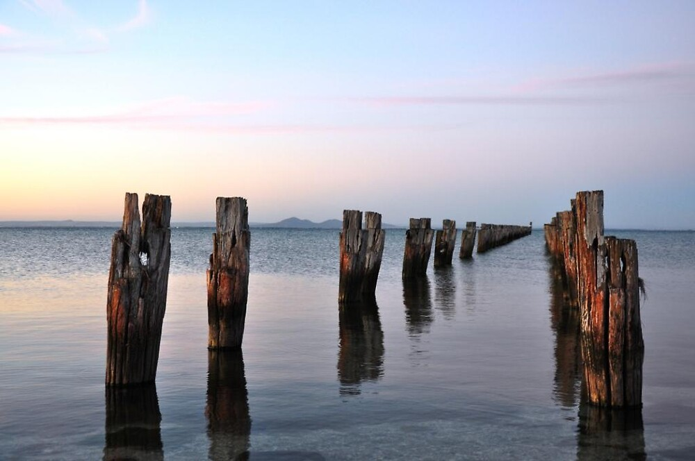 You Yangs nested behind the old pier at Clifton springs by Tracy215