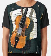 Die alte Violine, Kunstmalerei Chiffontop