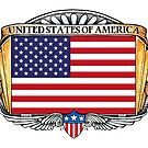 United States Of America Art Deco Design with Flag by Cleave