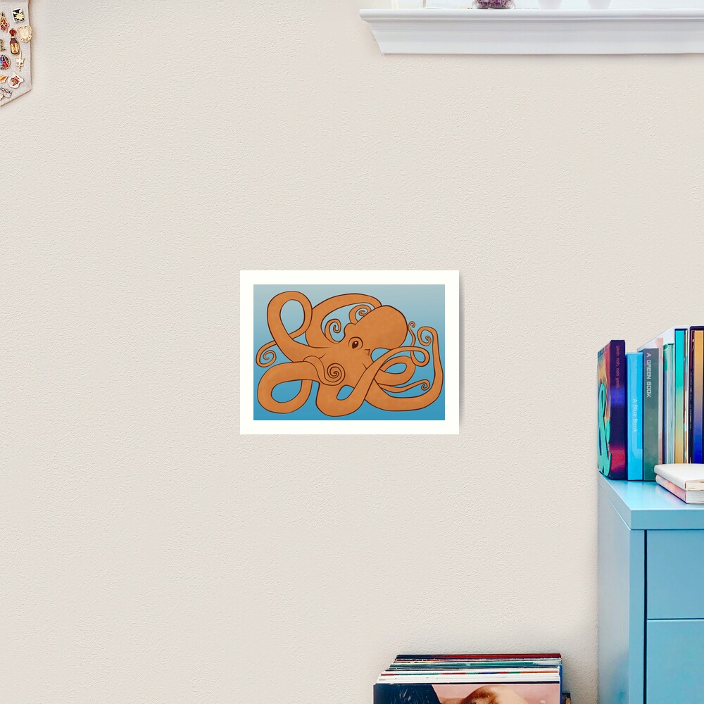 Octopoda (Orange & Blue) Art Print