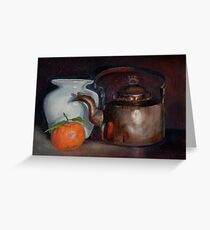 Still life with a copper kettle Greeting Card