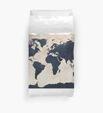 Weltkarte Distressed Navy Bettbezug