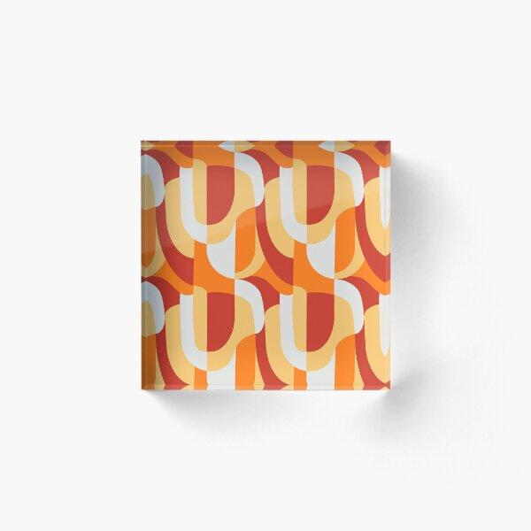 Orange Abstract Retro Pattern Acrylic Block