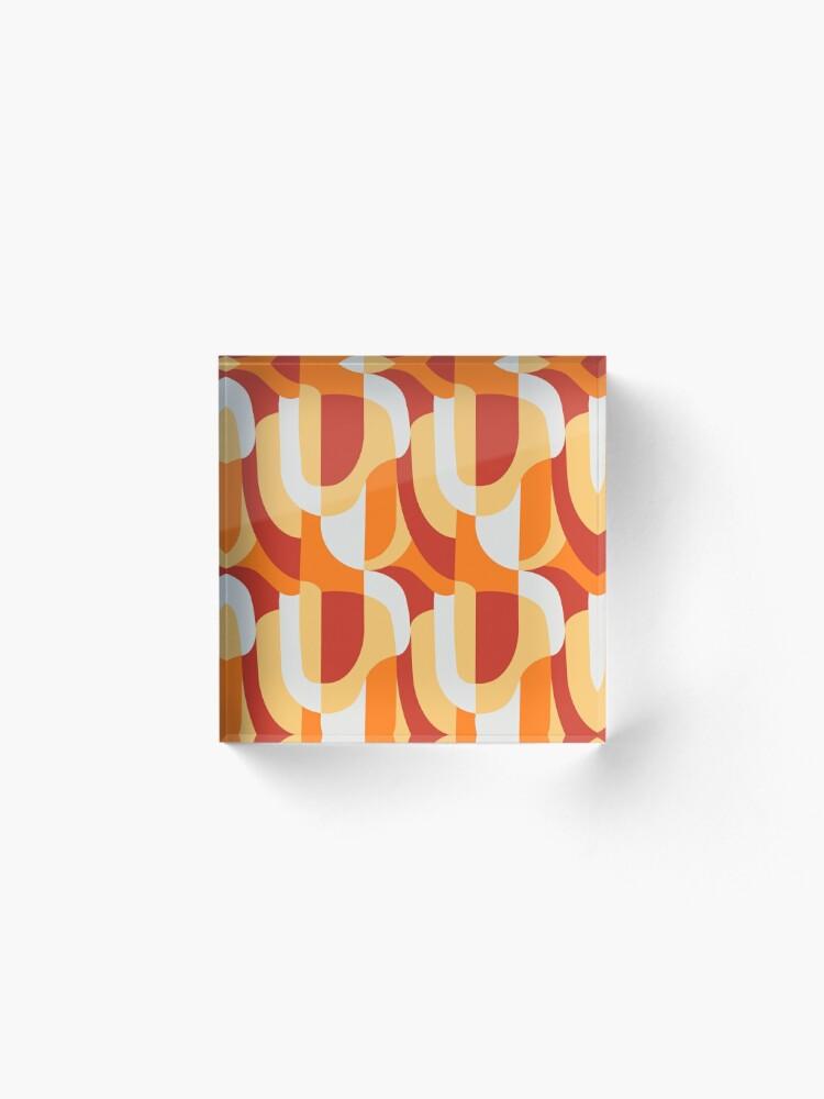 Alternate view of Orange Abstract Retro Pattern Acrylic Block