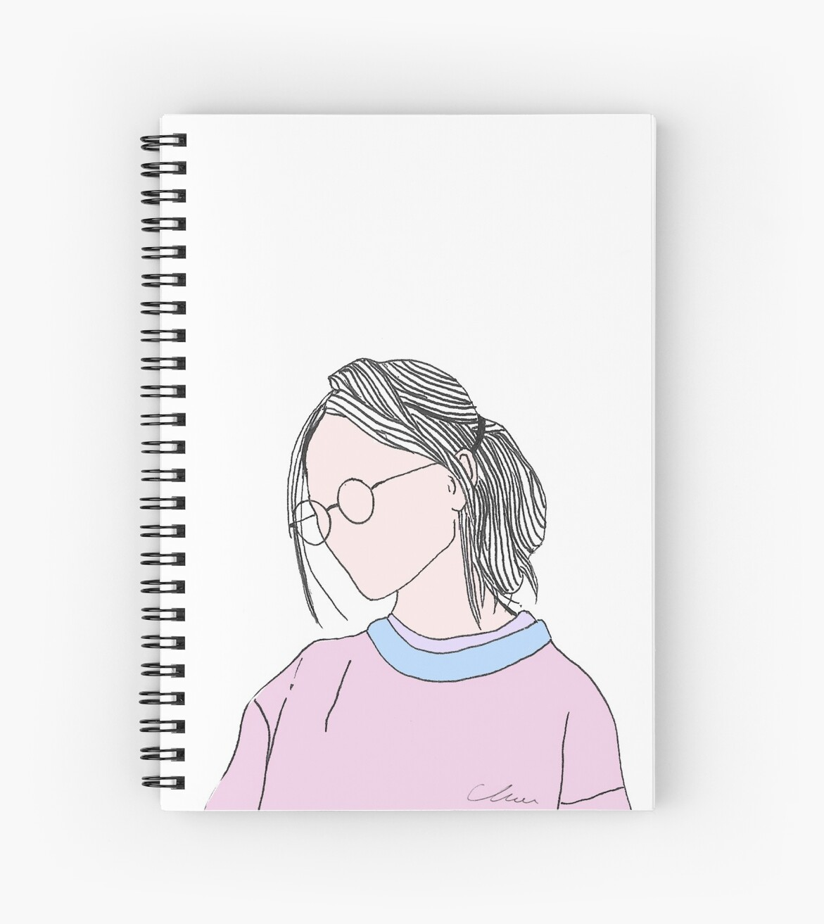 Aesthetic Girl Teenager With Glasses Colored Version Spiral