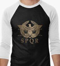Camiseta ¾ bicolor para hombre SPQR- Escudo Estándar del Imperio Romano