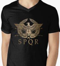 Camiseta de cuello en V SPQR- Escudo Estándar del Imperio Romano