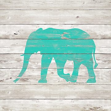 Turquoise Elephant on White Wood A222b by byNicol