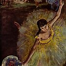 Edgar Degas French Impressionism Oil Painting Ballerina Dancing With Flowers by jnniepce