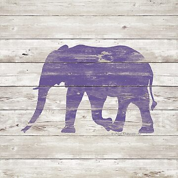 Violet Elephant on White Wood A222c by byNicol