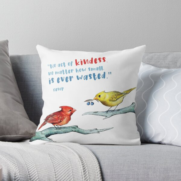 Act of Kindness - Cardinals, Inspirational Quotes, Animal Lovers Throw Pillow