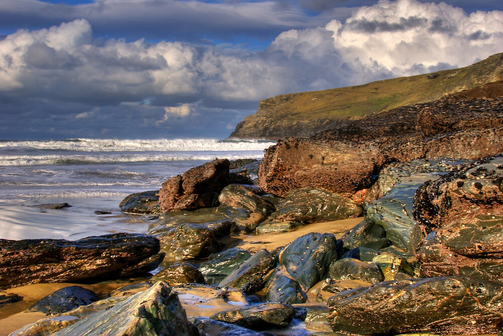 Trebarwith Rock scape by David Wilkins