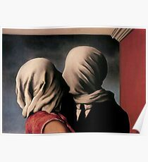 The Lovers Kiss - Rene Magritte - 20th century art  Poster