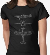 Spitfire aircraft blueprints Women's Fitted T-Shirt