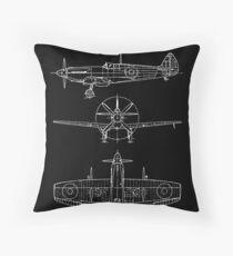 Spitfire aircraft blueprints Throw Pillow