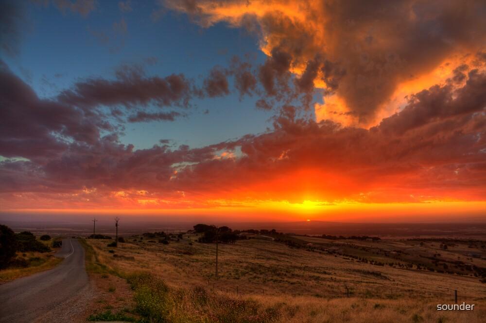 Winter's Hill Sunset by Michael Sleep