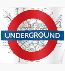 London Underground with tube map Poster