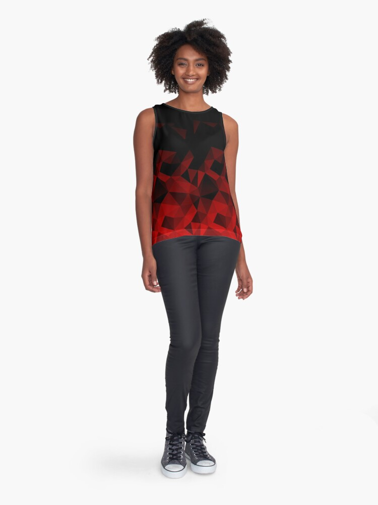 Alternate view of Abstract polygonal pattern .Red, black triangles. Sleeveless Top