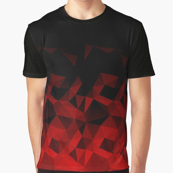 Abstract polygonal pattern .Red, black triangles. Graphic T-Shirt