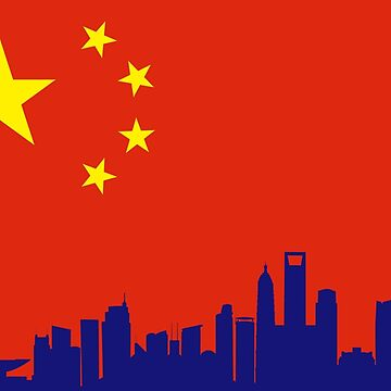 China Flag with Shanghai Skyline by richdelux