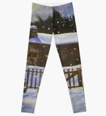 Snow Covered Garden Shed Leggings