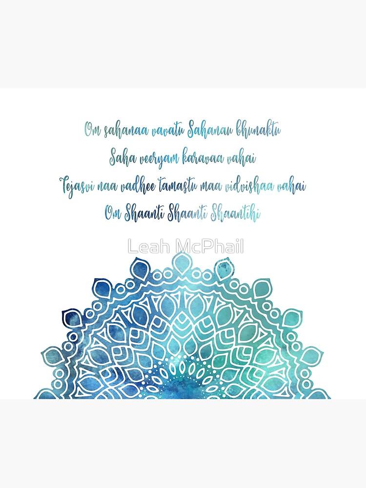 Watercolor Om Shaanti Yoga Opening Prayer Mandala by LeahMcPhail