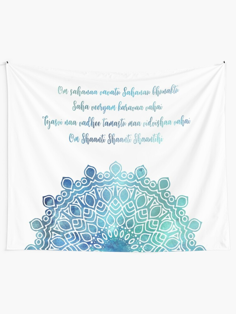 Alternate view of Watercolor Om Shaanti Yoga Opening Prayer Mandala Tapestry
