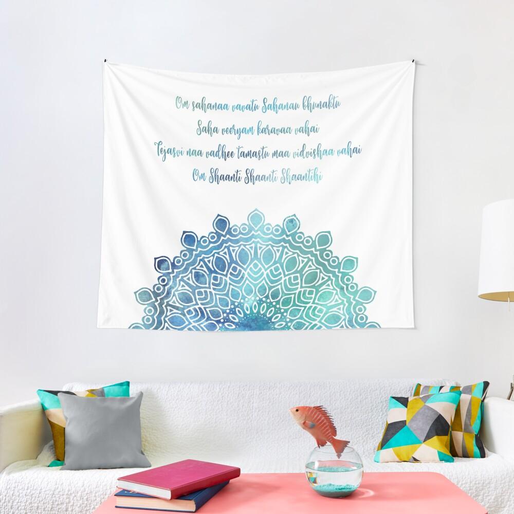 Watercolor Om Shaanti Yoga Opening Prayer Mandala Tapestry