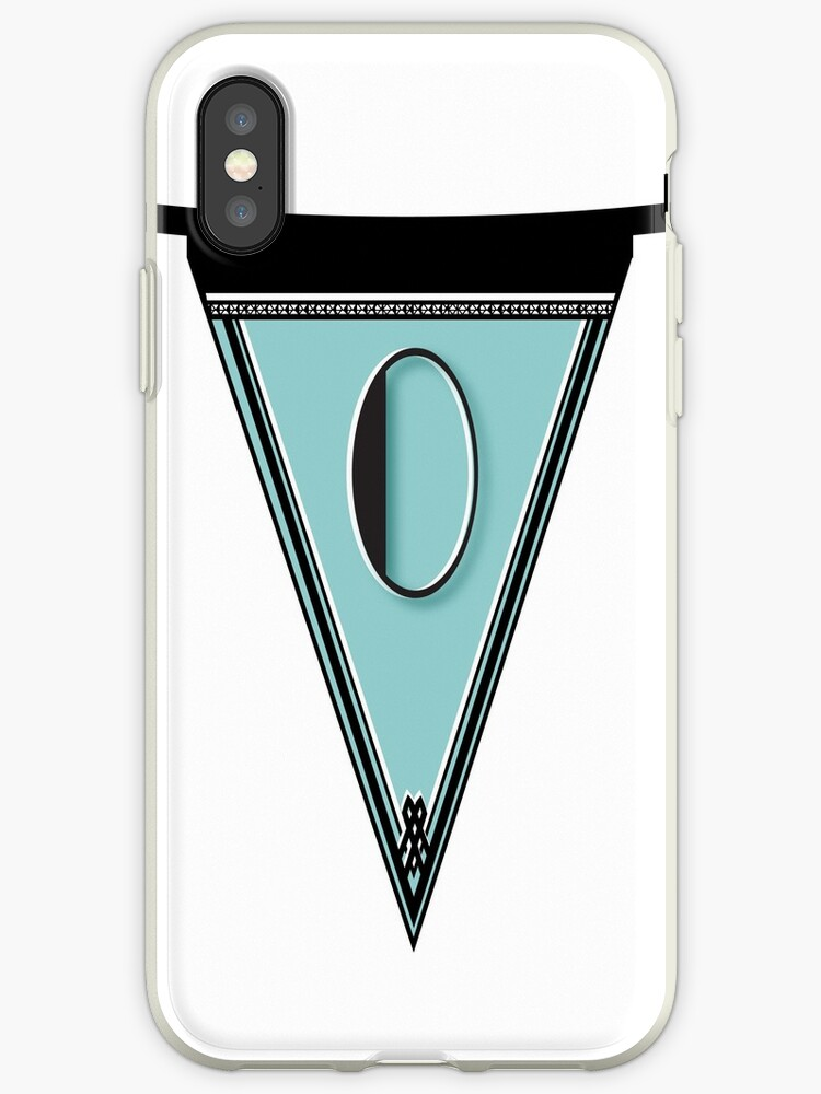 Pennant Deco Blues Monogram  … initial O by CecelyBloom