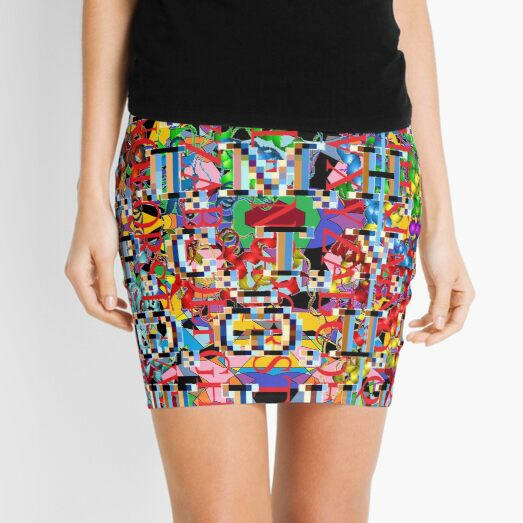 Motley chaotic pattern, Chaos, Motley, chaotic, pattern  Mini Skirt