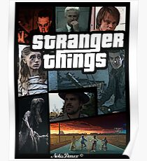 Stranger Things version GTA Poster