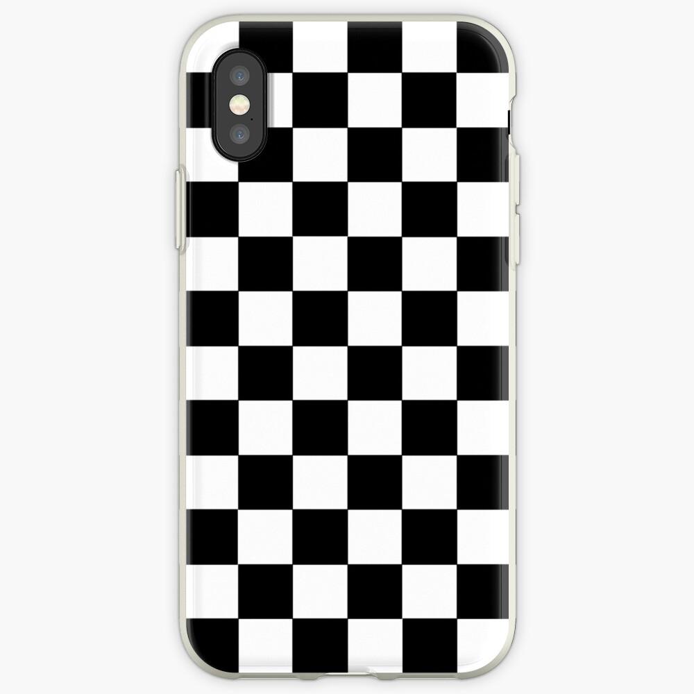 Kariertes Schwarz und Weiß iPhone-Hüllen & Cover