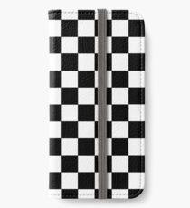 Kariertes Schwarz und Weiß iPhone Flip-Case/Hülle/Klebefolie